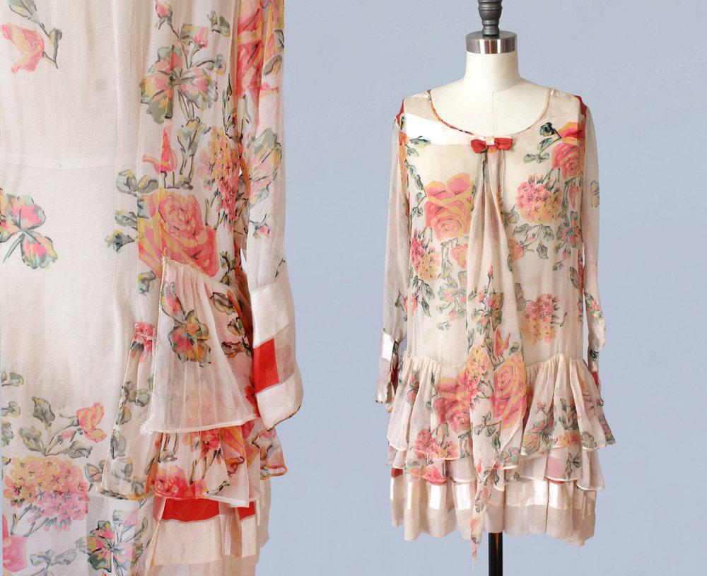 Floral silk chiffon dress. 1920s.