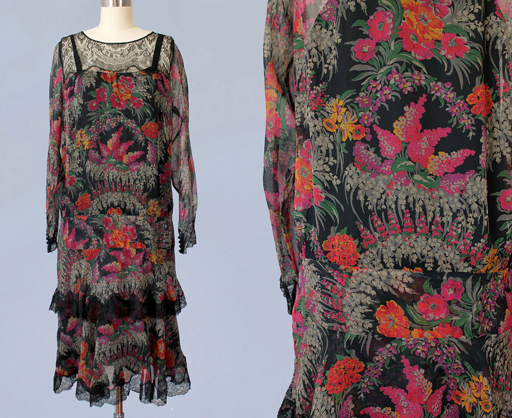 Printed floral silk dress. 1920s.