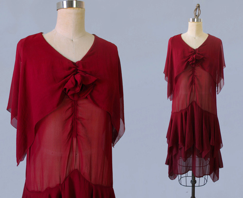 Red silk chiffon dress. 1920s.