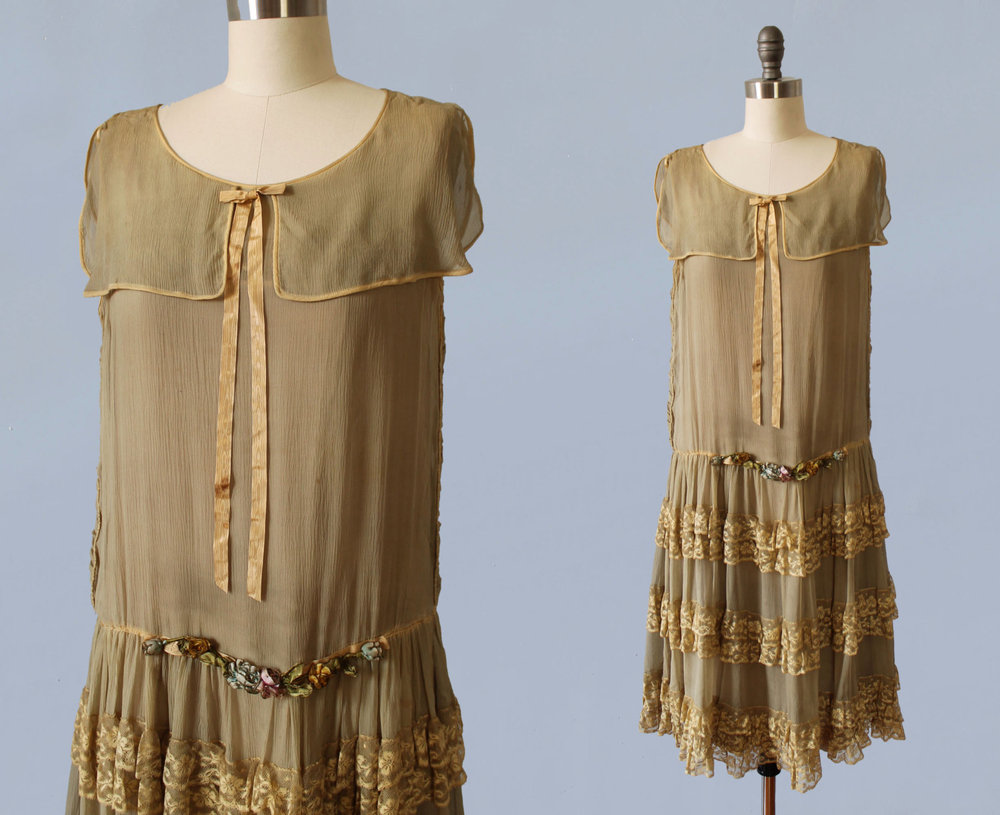 Silk chiffon and lace dress with ribbon and metal thread flowers. 1920s.