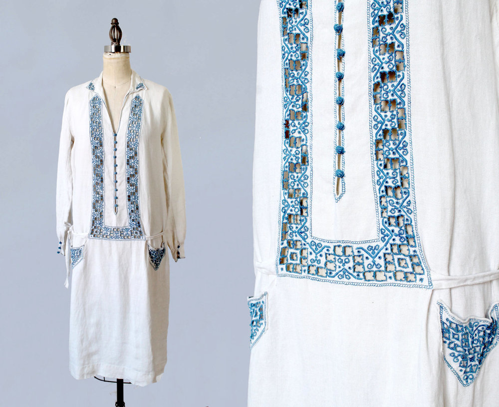 White cotton linen dress with blue embroidery. 1920s.
