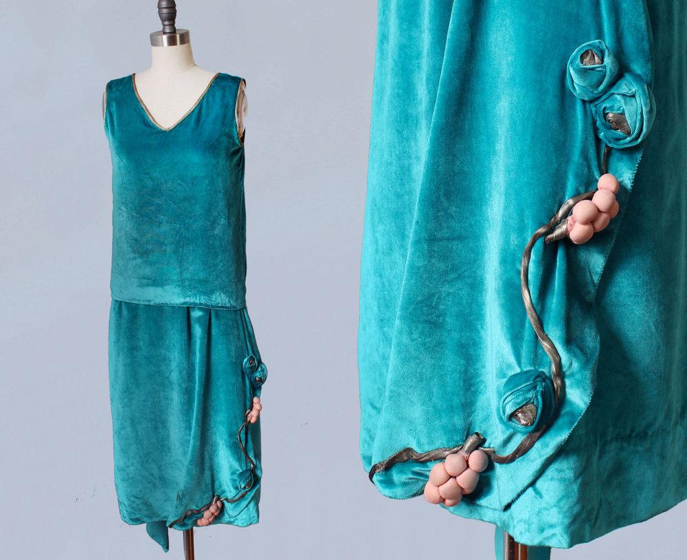 Vibrant blue velvet dress with fabric flower accents. 1920s.