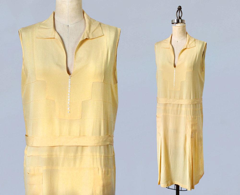 Yellow silk sportswear style dress. 1920s.