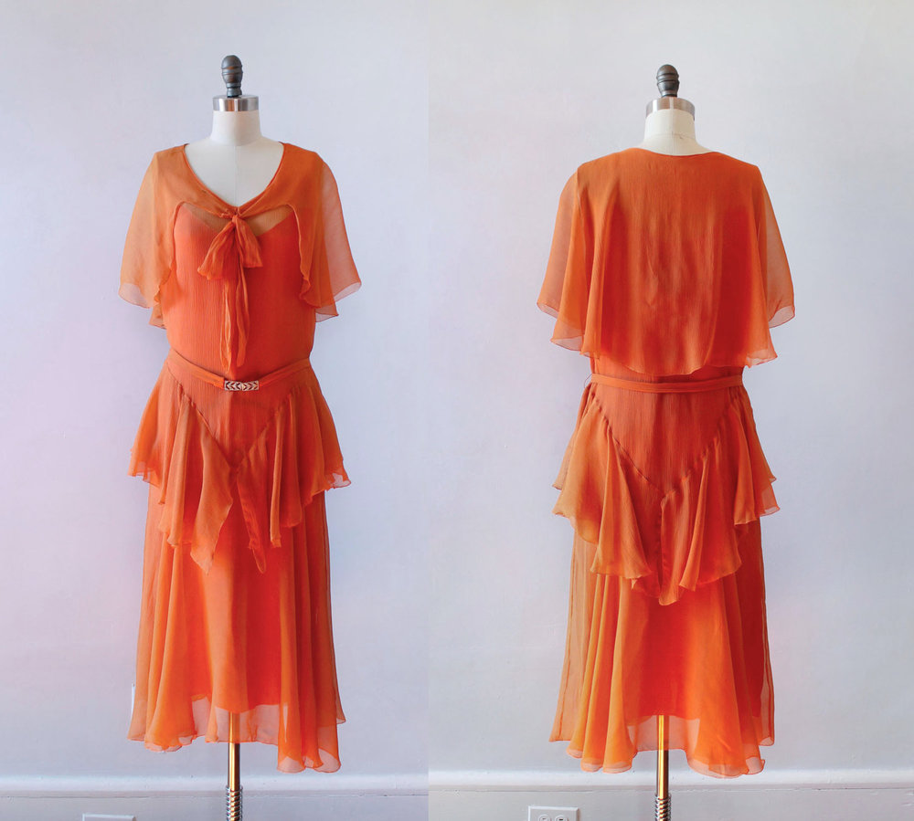 Bright orange silk chiffon dress. 1920s.