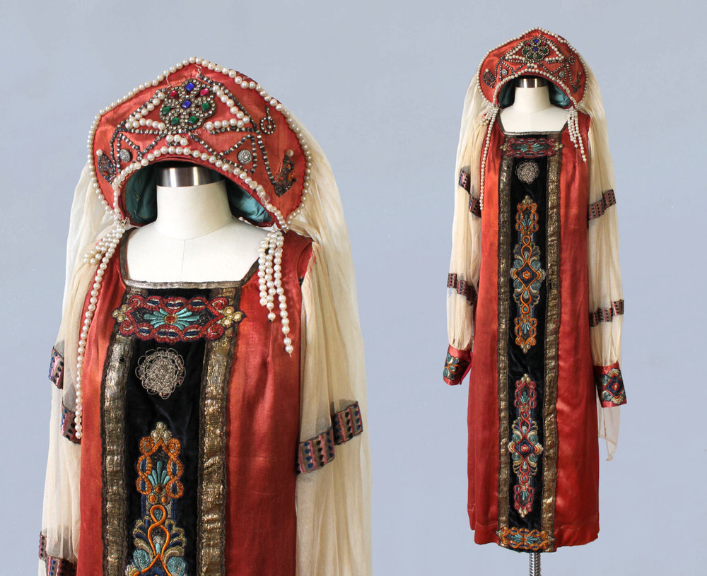 Russian costume with kokoshnik and veil. Likely used for stage. 1910s-20s.