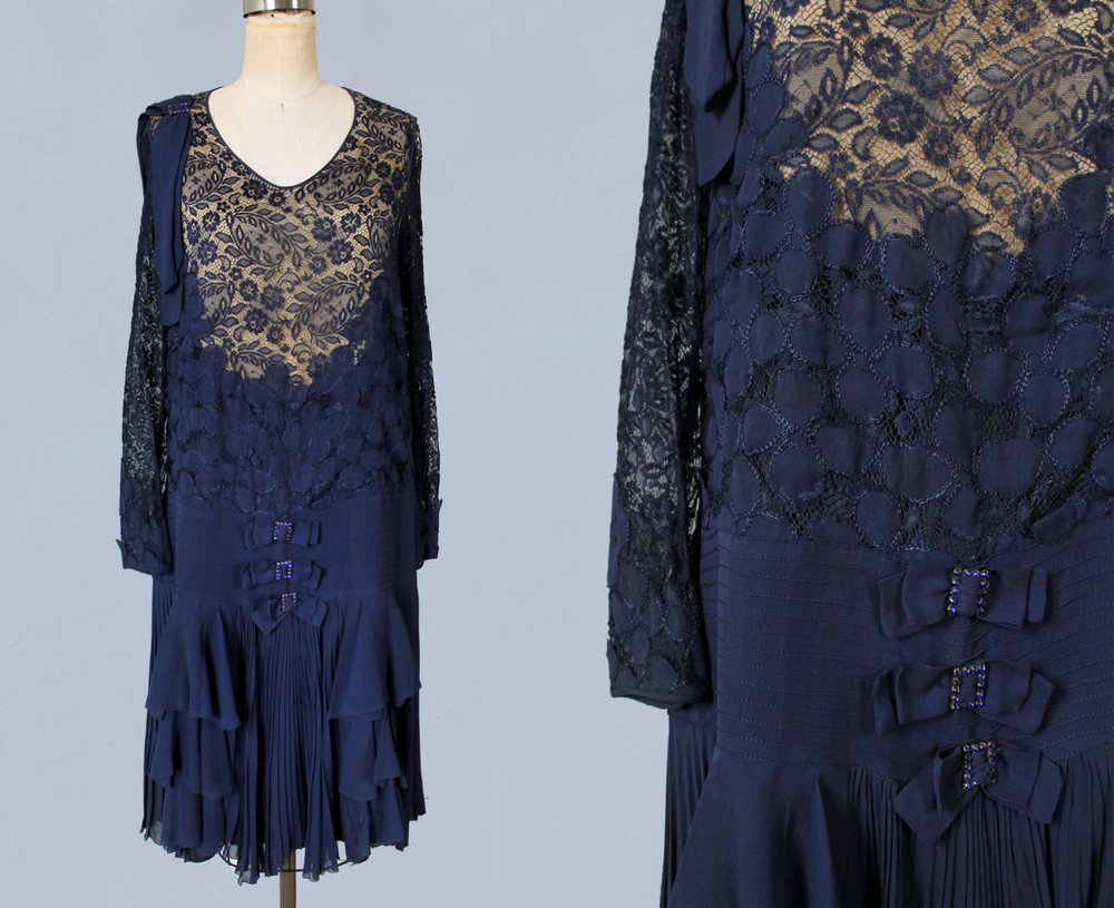 Navy blue silk and lace dress. 1920s.