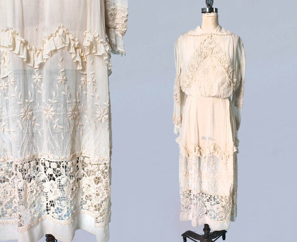 White embroidered dress. 1910s.