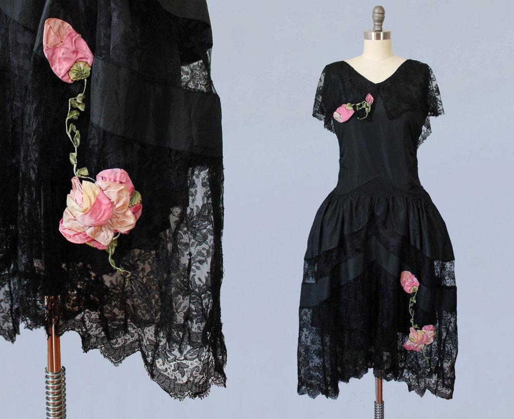 Black silk taffeta and lace robe de style dress with silk flowers. 1920s.