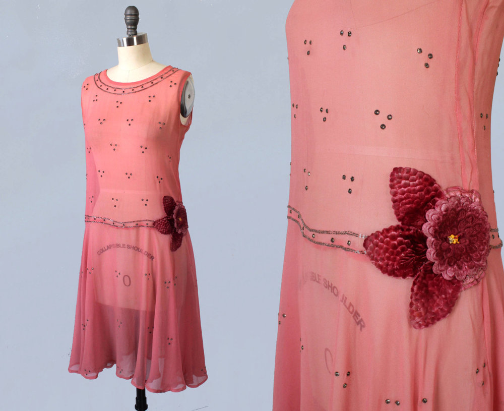 Pink silk chiffon dress with flower embellishment and rhinestones. 1920s.