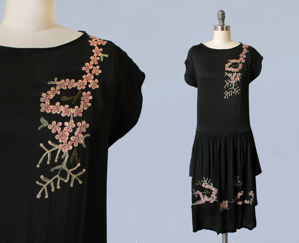 Black silk embroidered dress. 1920s.