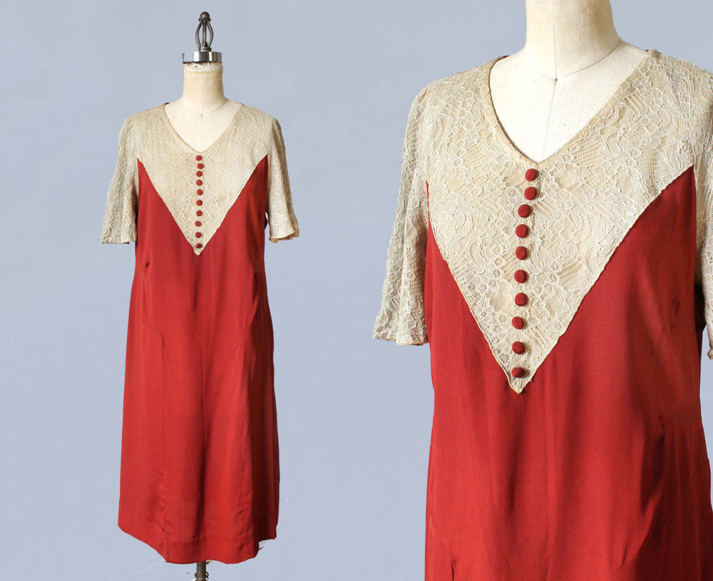 Red silk and lace dress. 1920s.