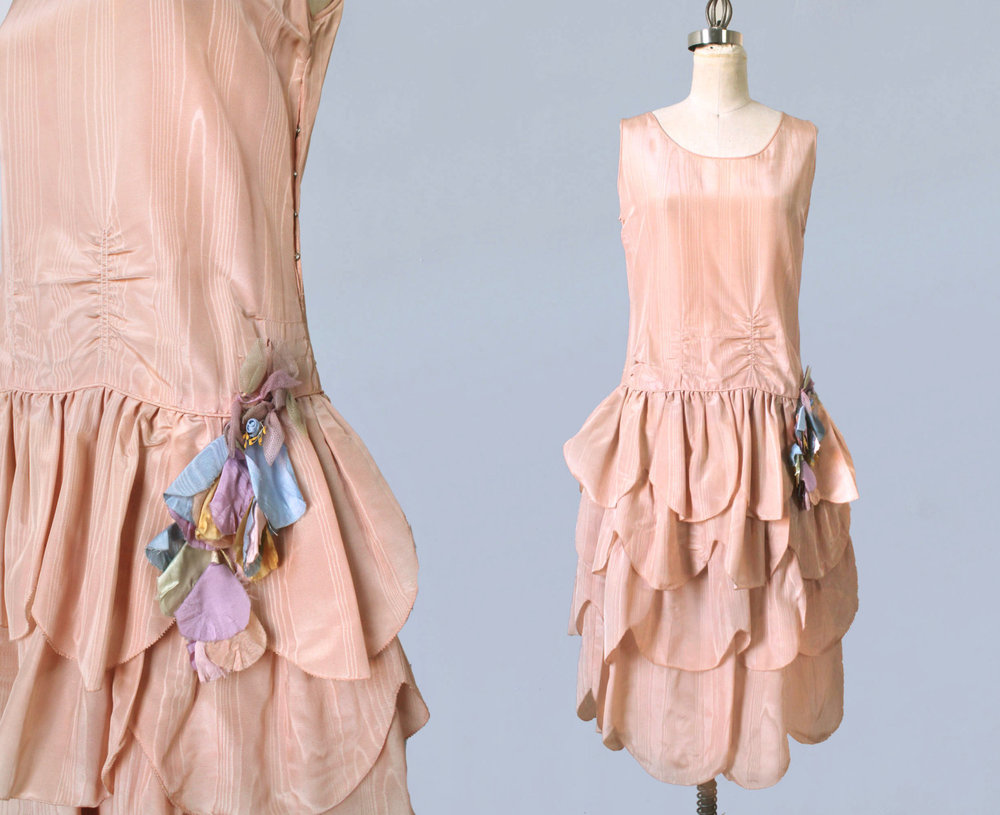 Pink moire robe de style dress with fabric flower and petal skirt. 1920s.