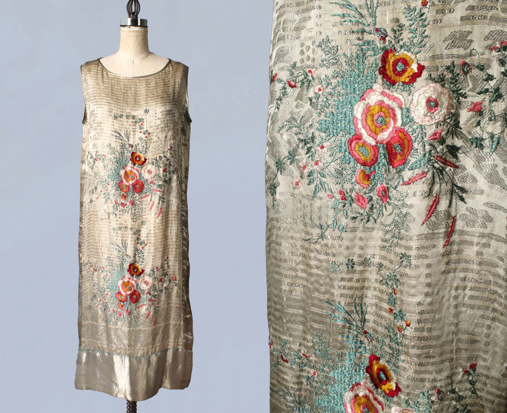 Vitaldi Babani silk lamé dress with embroidery. 1920s.