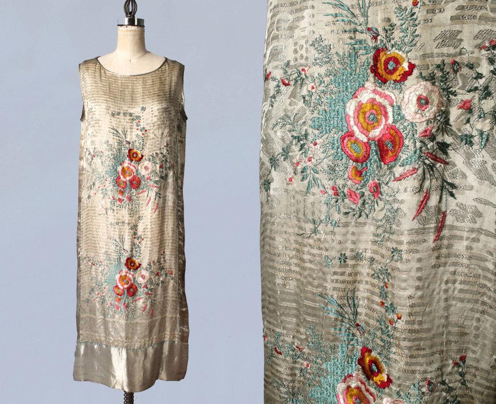 Vitaldi Babani silk lamé dress with embroidery. 1920s.