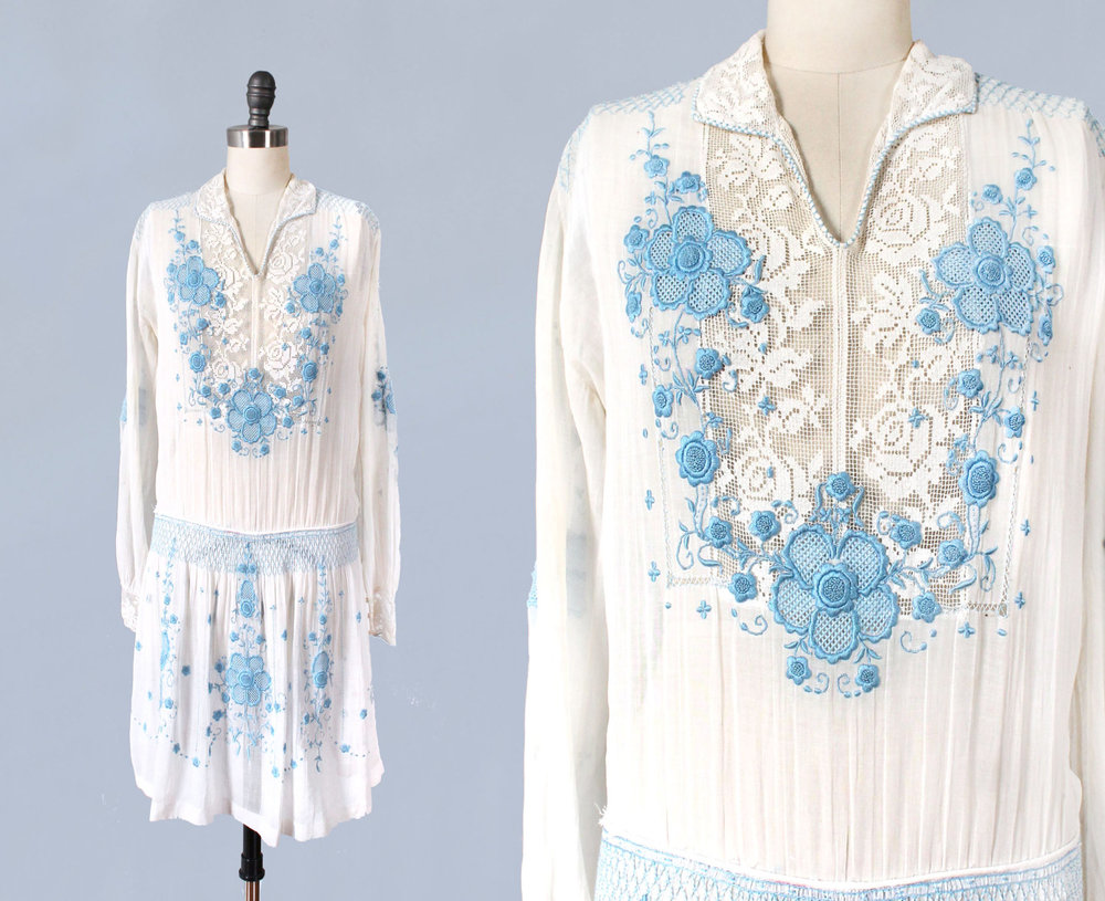 Cotton embroidered peasant style dress. 1920s.