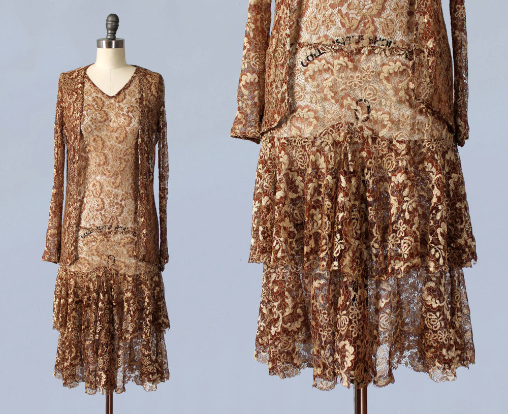 Lace dress and jacket set. 1920s.