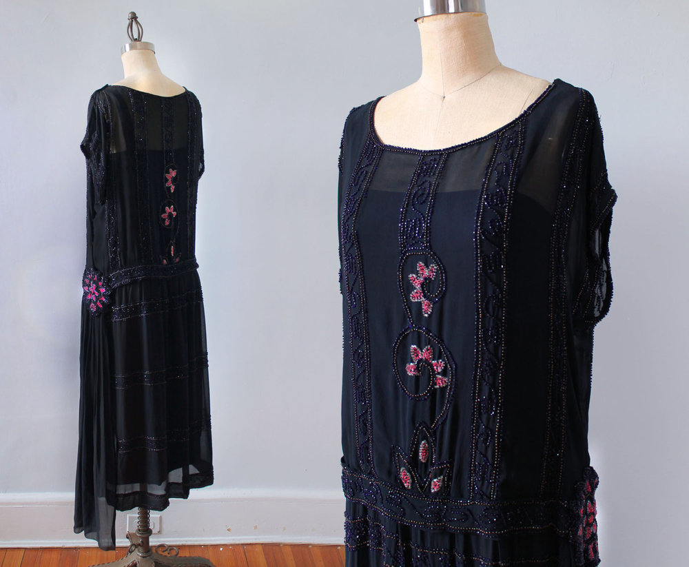 Navy blue silk dress with pink and navy glass beading. 1920s.