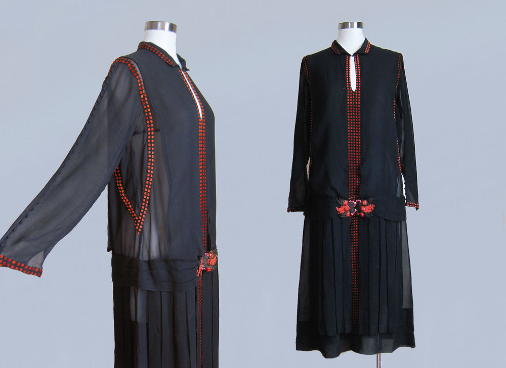 Navy silk dress with red accents. 1920s.