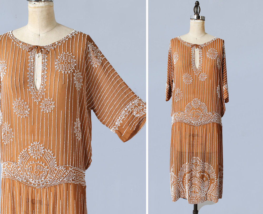 Caramel beaded cotton dress. 1920s.