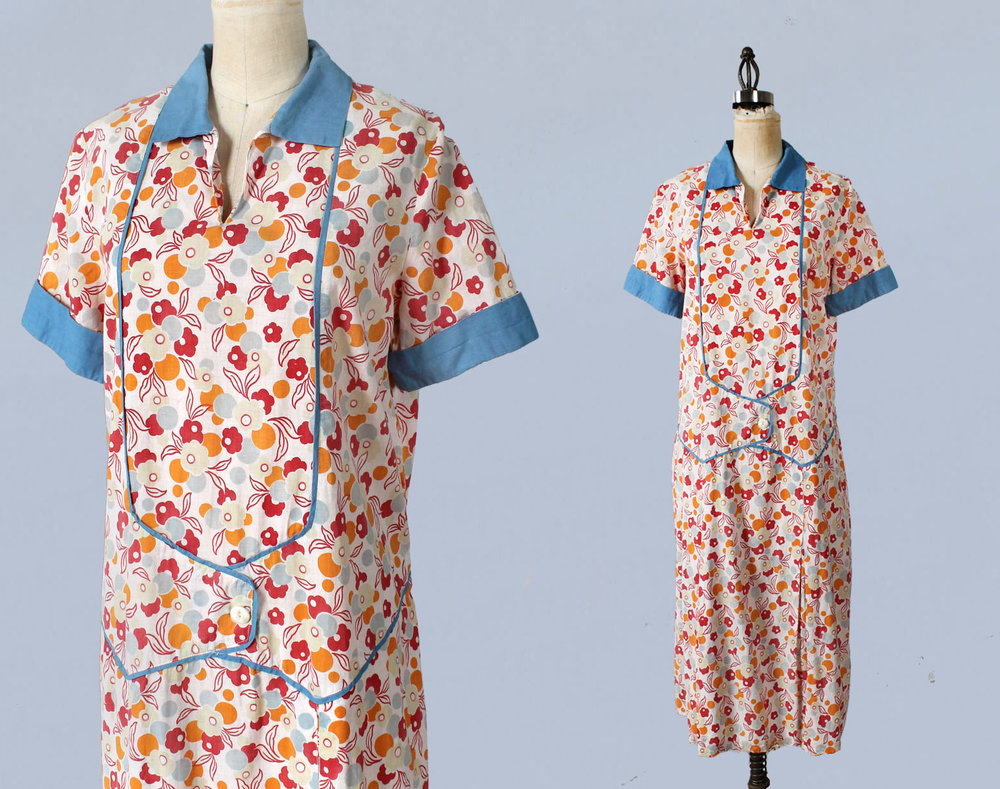 Cotton printed dress. 1920s.
