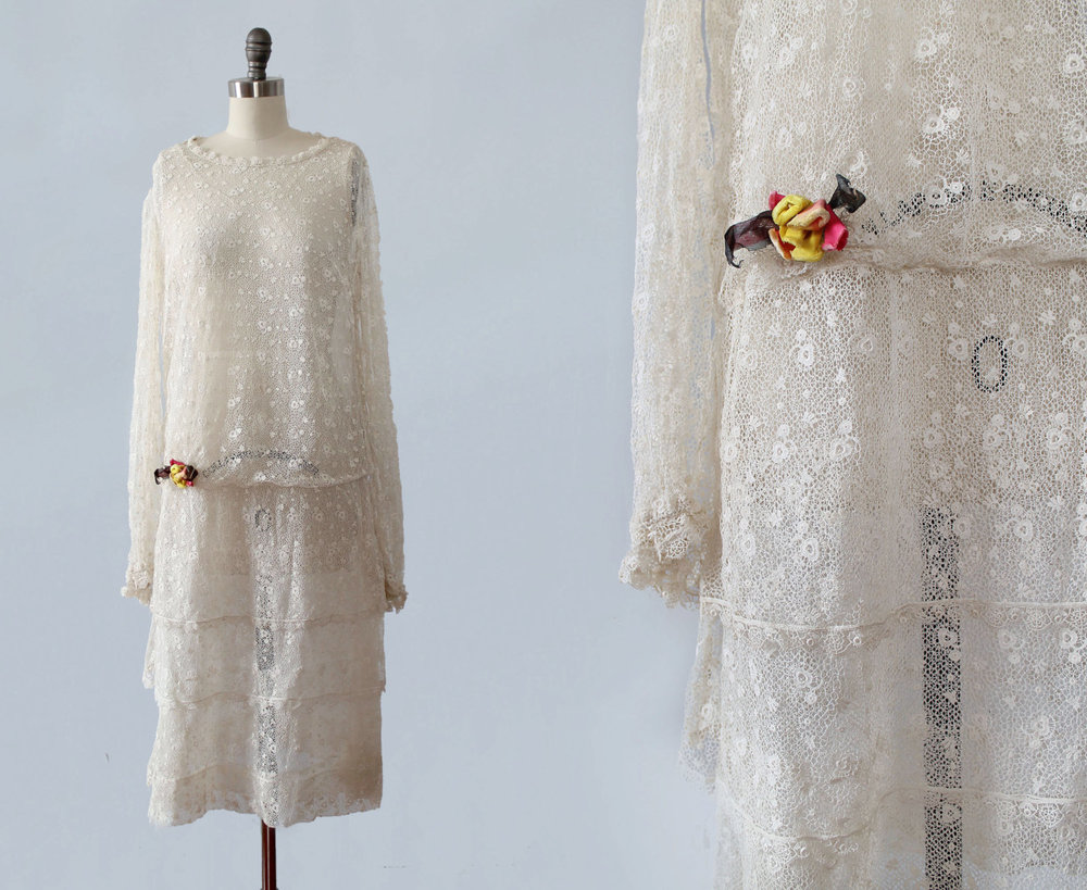 White lace dress. 1920s.