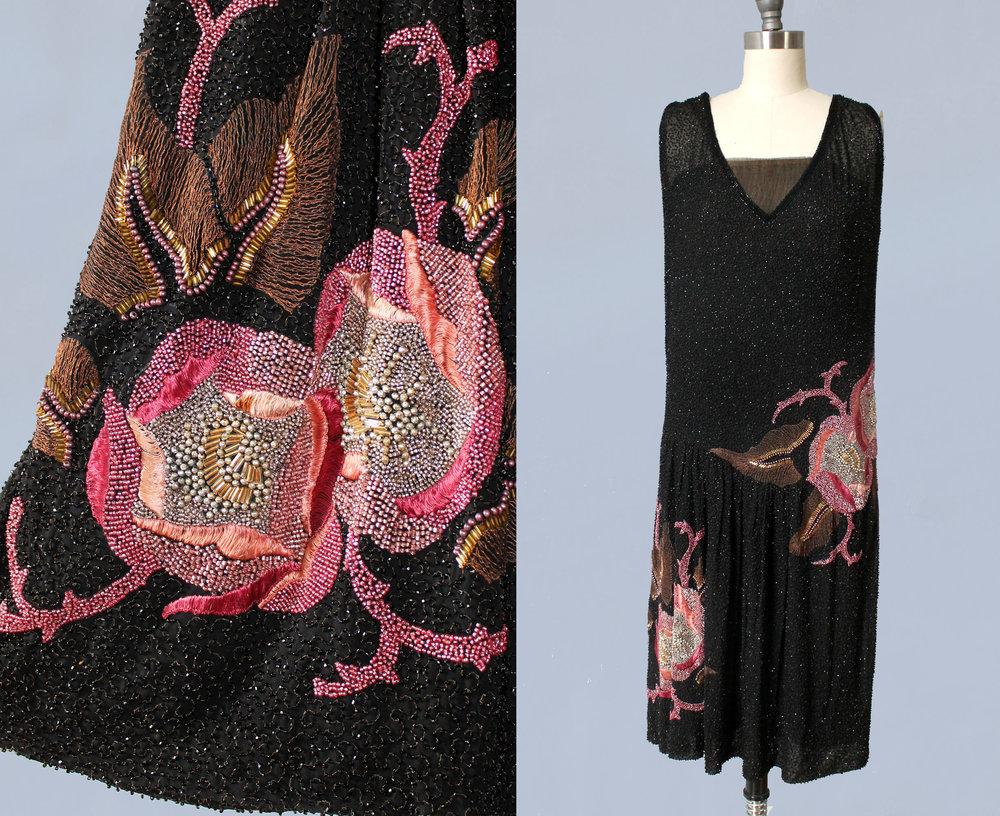 Densely beaded dress. 1920s.