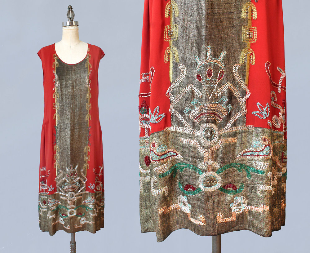 Red silk and gold metallic lamé with beading and sequins. 1920s.