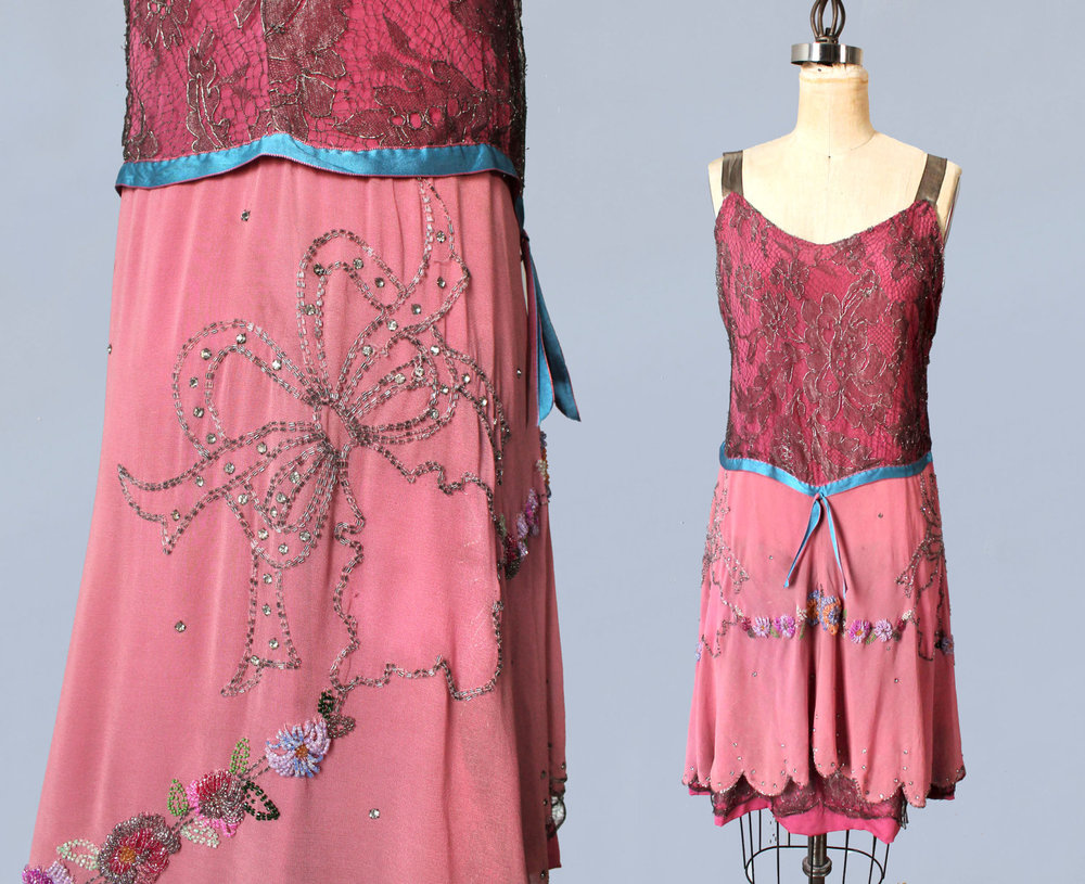 Pink silk dress with beaded bows and floral clusters and metallic lace bodice. 1920s.