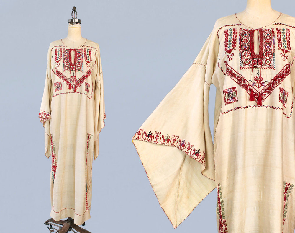 Raw silk Palestinian embroidered caftan dress. 1920s.