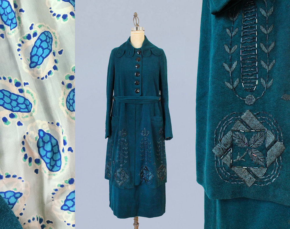 Teal wool two piece suit with embroidery and printed silk lining. C.1920