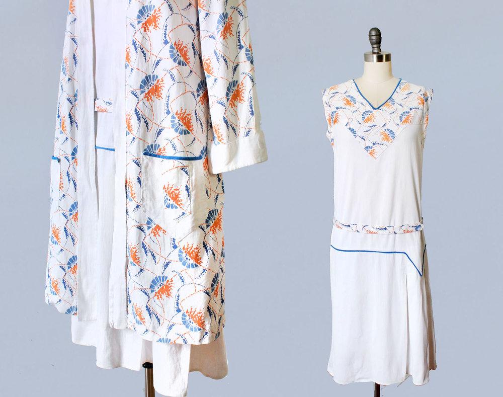 Deco printed cotton sportswear dress and jacket set. 1920s.