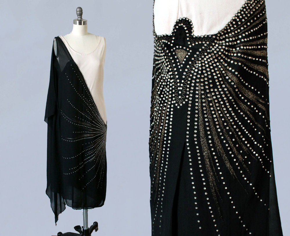 Black and white silk dress with rhinestones and gold bullion embroidery. 1920s.