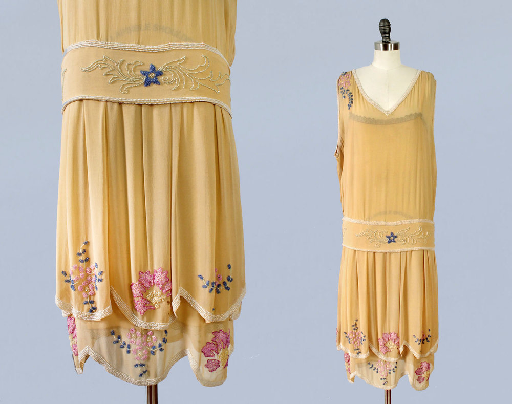 Yellow orange beaded silk dress. 1920s.