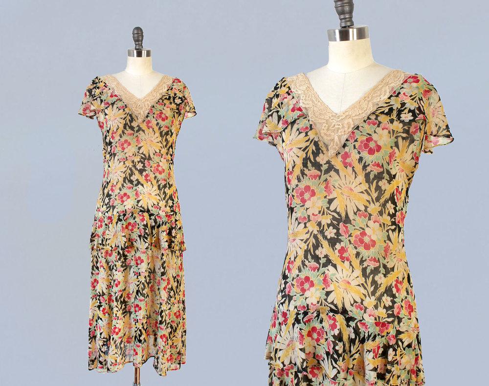 Printed cotton floral dress. 1920s.
