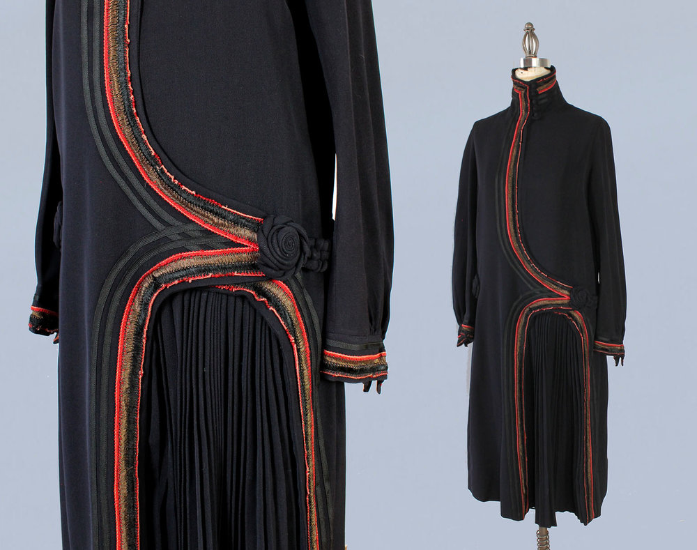 Unusual military inspired jacket dress. 1920s.