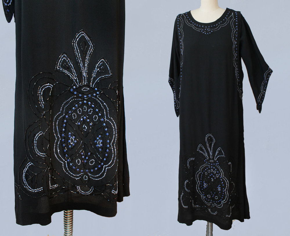 Black beaded silk crepe dress. 1920s.