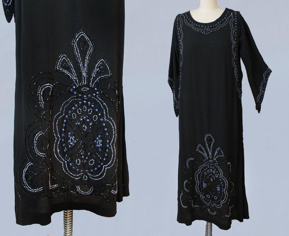 Black beaded silk crepe dress. 1920s.