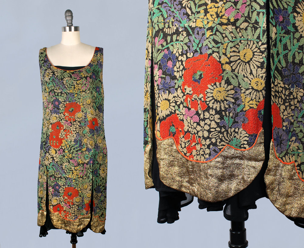 Gold metallic lamé floral tunic dress with split petal skirt. 1920s.