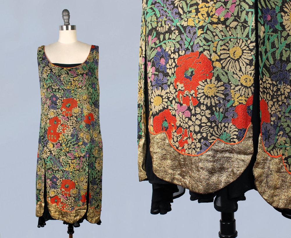 Gold metallic lamé floral tunic dress with split petal skirt. 1920s.
