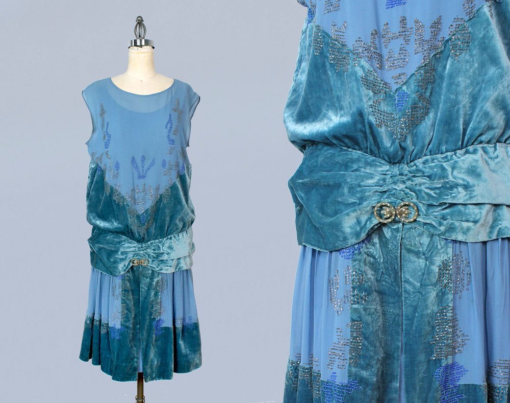 Bright blue silk and velvet beaded dress. 1920s.