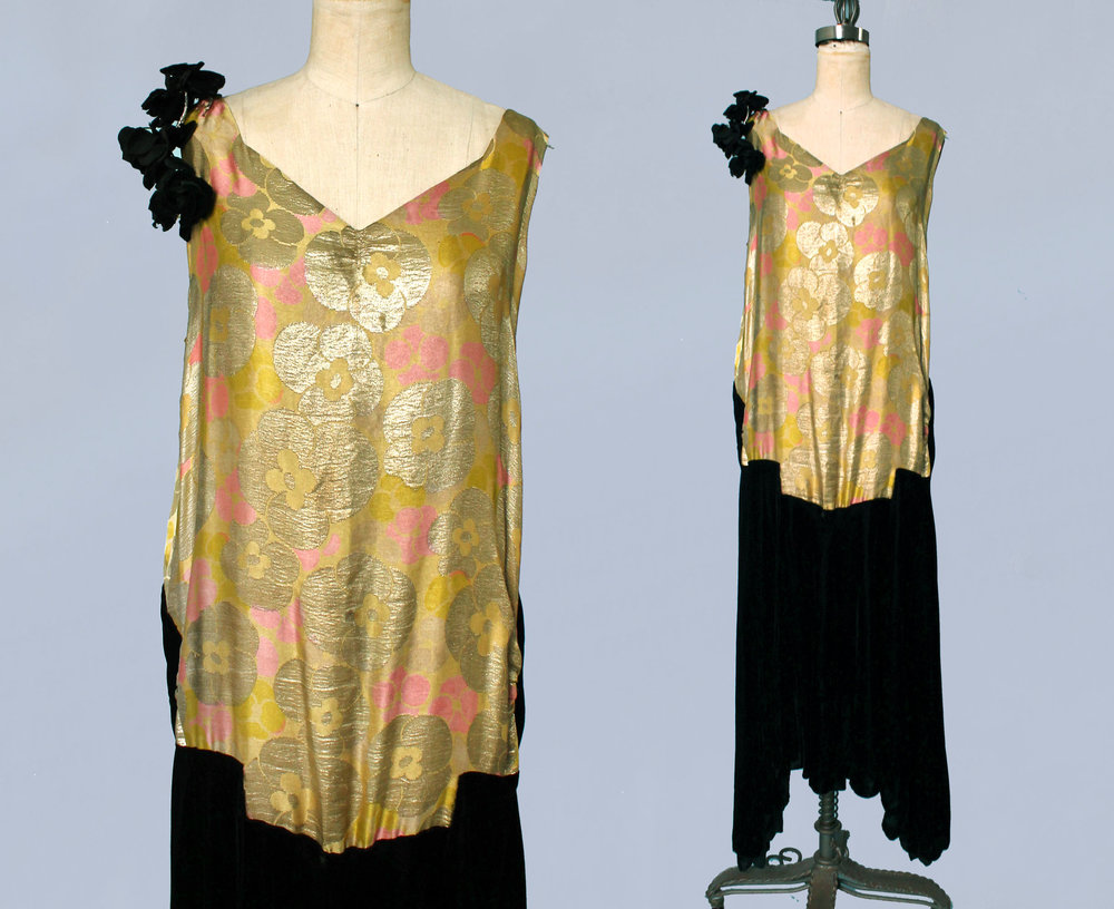 Metallic lamé and velvet dress. 1920s.