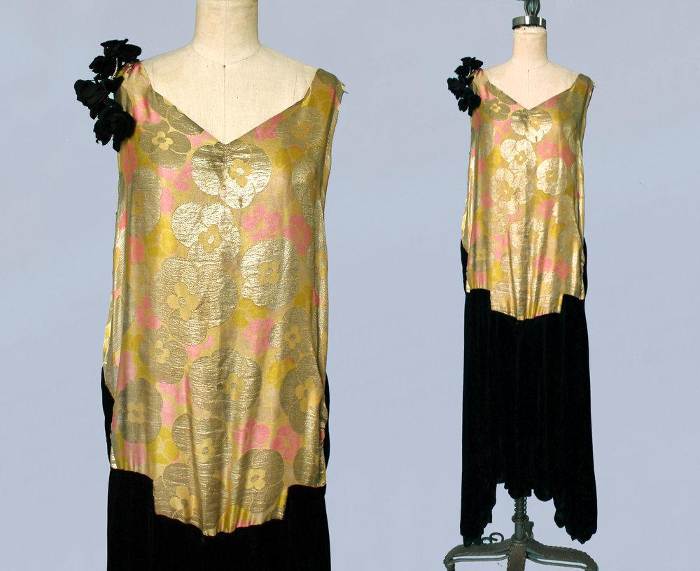 Metallic lamé and velvet dress. 1920s.