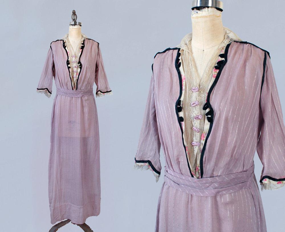 Lilac dress. 1910s.