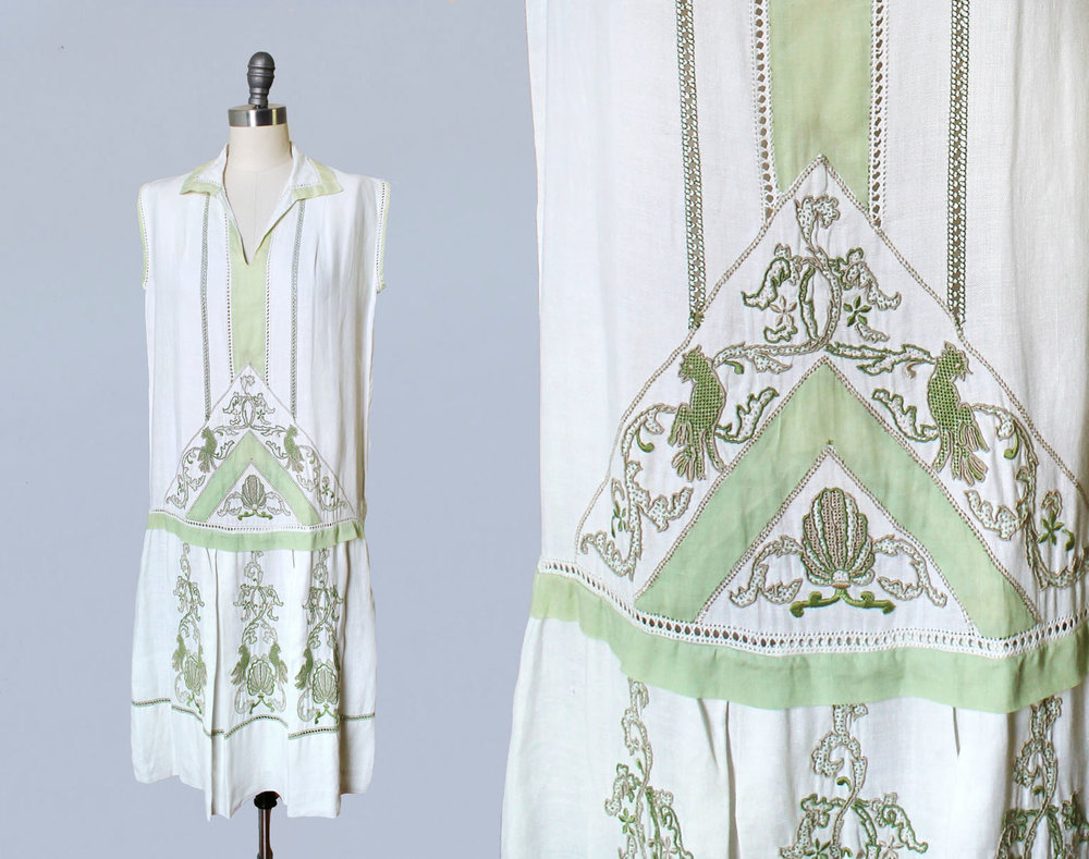 Cotton dress embroidered with bird and shell Art Nouveau motifs. 1920s.