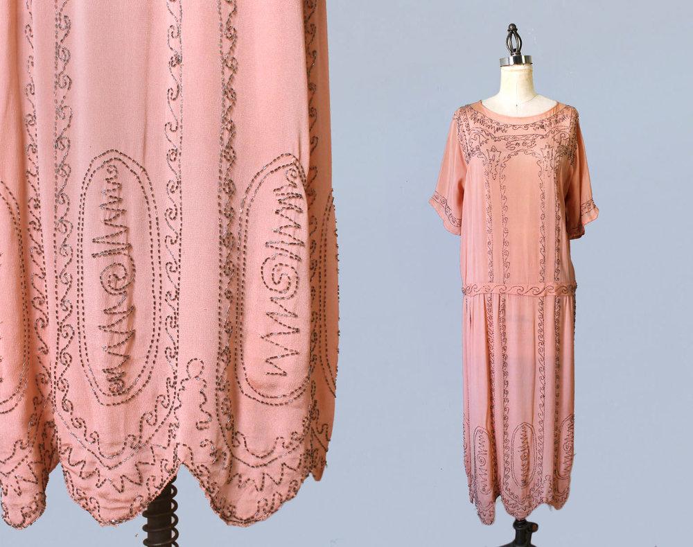 Pink silk beaded dress. 1920s.
