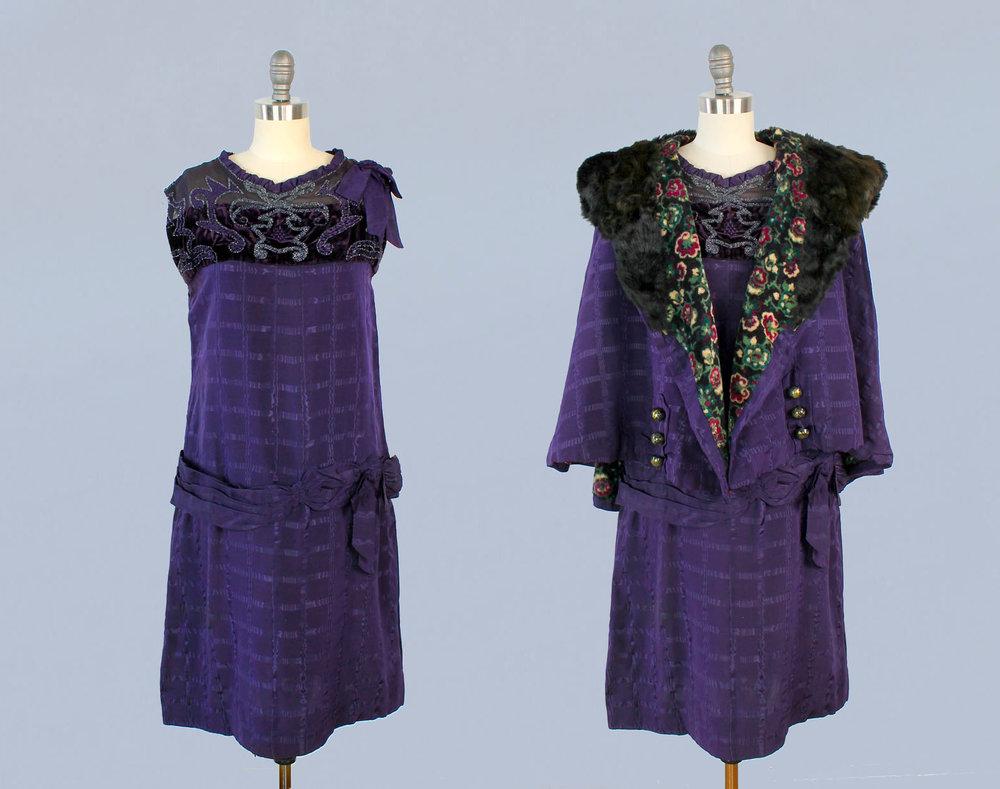 Purple dress and cape set. 1920s.