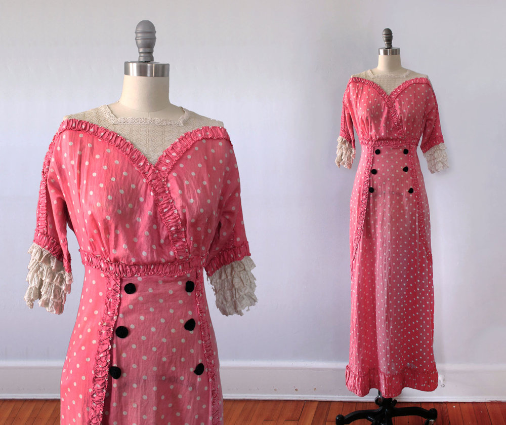 Pink polka dot silk dress. 1910s.