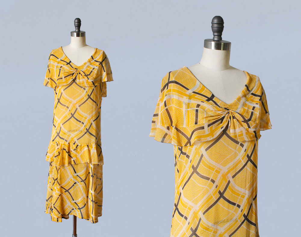 Yellow printed dress. 1920s.