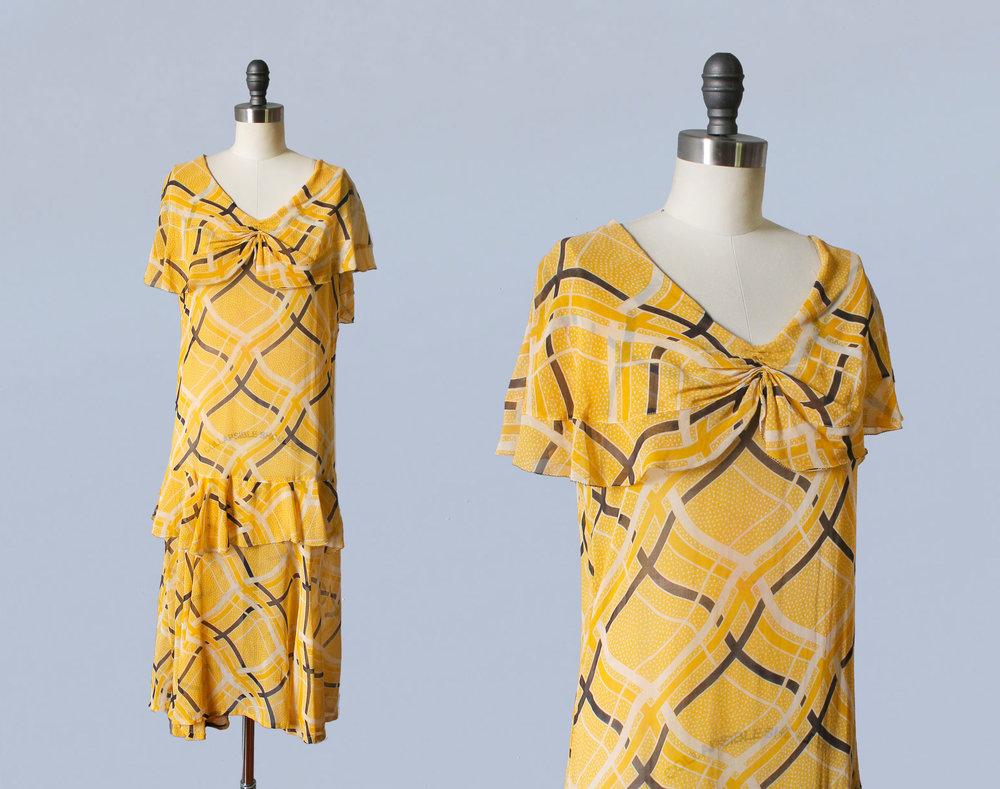 Yellow printed dress. 1920s.