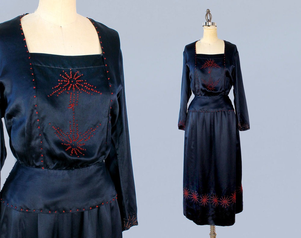 Blue silk  two piece dress with knotted details. 1910s-20s